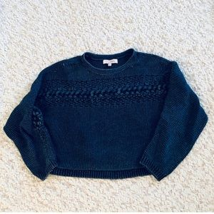 Denim Colored Cropped Cable Knit Sweater